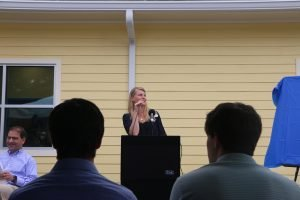 Dorothy Thomas delivers a speech during the CHILD Center ribbon-cutting celebration.