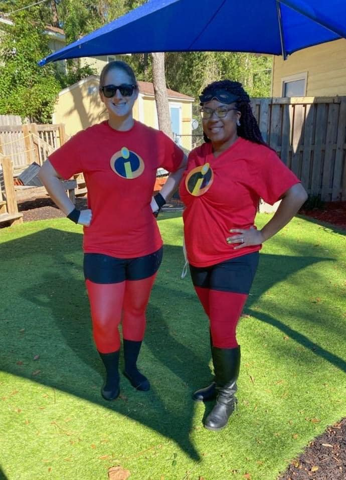 Two CHILD Center teachers dressed as The Incredibles for Halloween