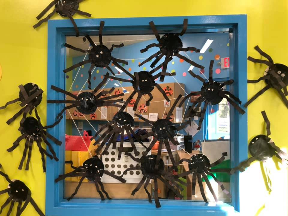 Halloween decorations featuring fake spiders